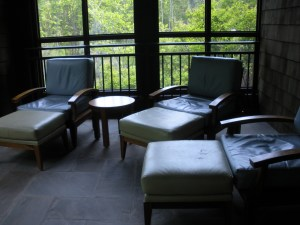 Screened-in porch in the Women's Retreat at The Lodge at Woodloch
